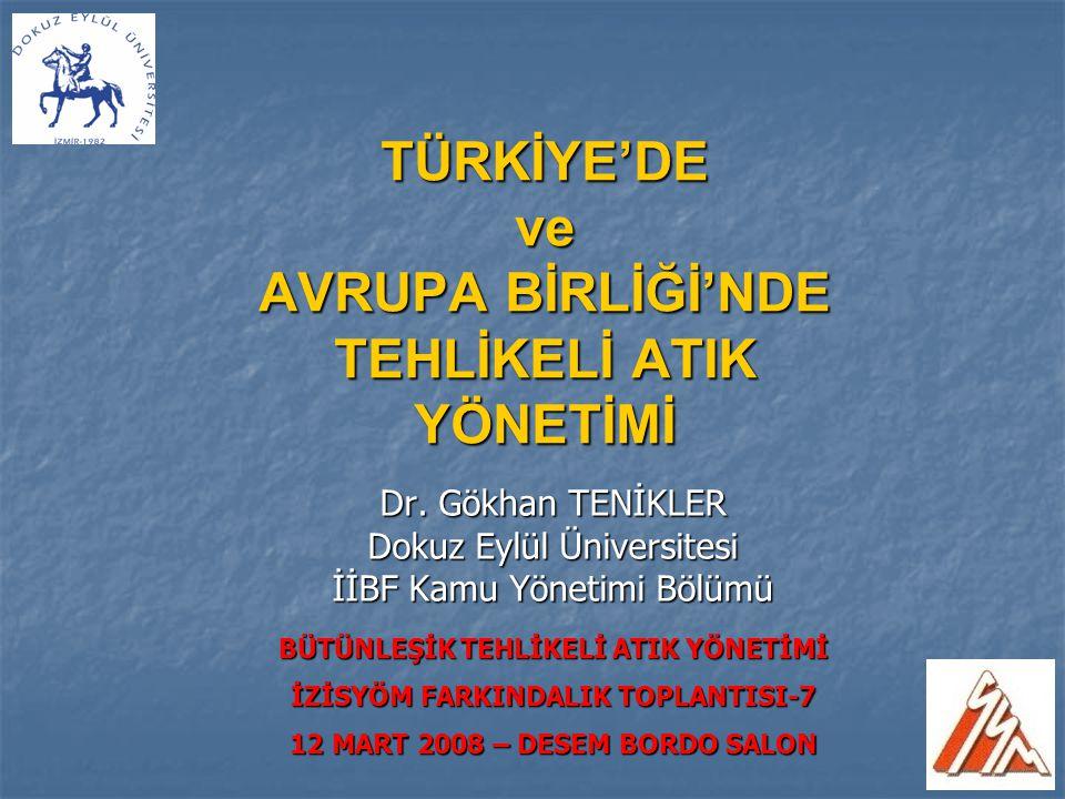 AB Ülkeleri ve Türkiye'de Yakma ve Depolama Tesisi Sayıları (Rapor edilen en son yıllar itibariyle)