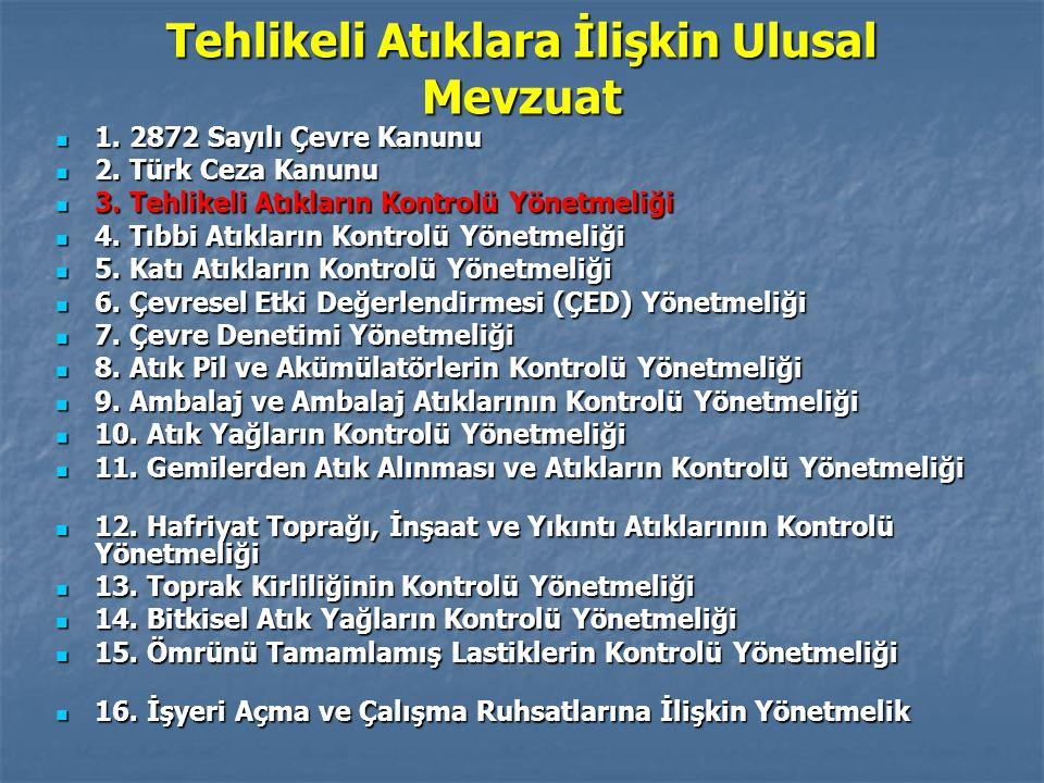 Tehlikeli Atıklara İlişkin Ulusal Mevzuat 1. 2872 Sayılı Çevre Kanunu 1. 2872 Sayılı Çevre Kanunu 2. Türk Ceza Kanunu 2. Türk Ceza Kanunu 3. Tehlikeli