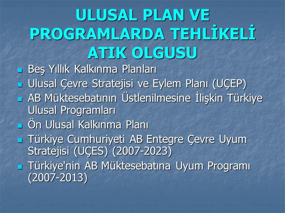 ULUSAL PLAN VE PROGRAMLARDA TEHLİKELİ ATIK OLGUSU Beş Yıllık Kalkınma Planları Beş Yıllık Kalkınma Planları Ulusal Çevre Stratejisi ve Eylem Planı (UÇ