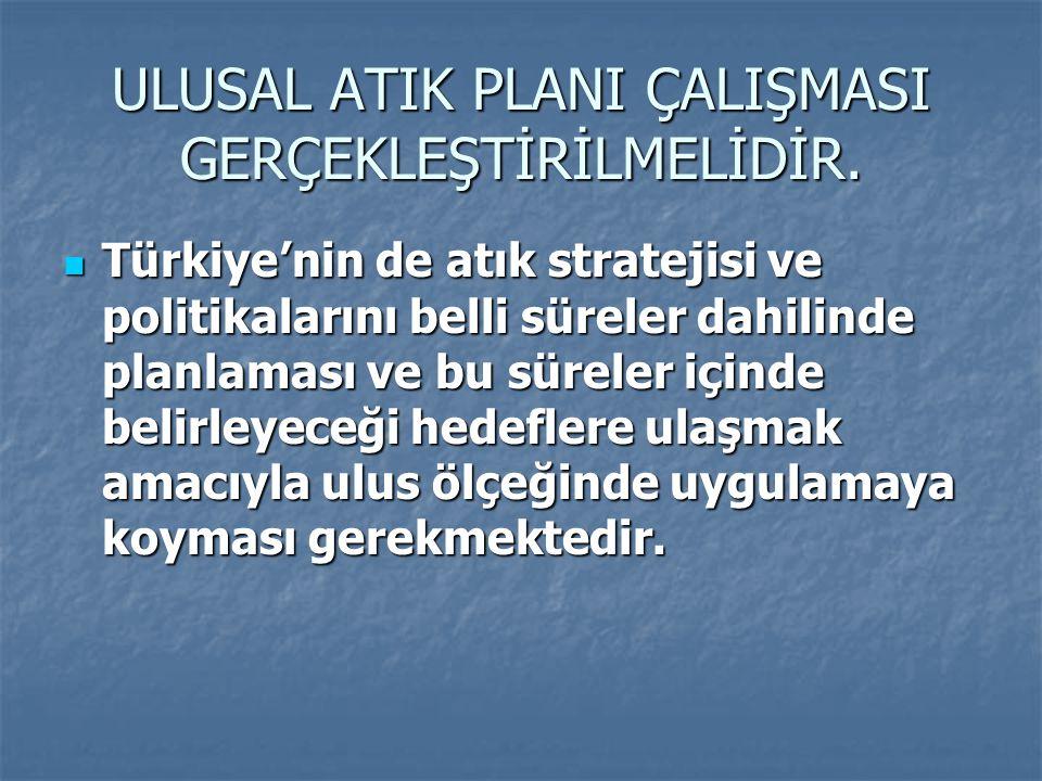 ULUSAL ATIK PLANI ÇALIŞMASI GERÇEKLEŞTİRİLMELİDİR. Türkiye'nin de atık stratejisi ve politikalarını belli süreler dahilinde planlaması ve bu süreler i