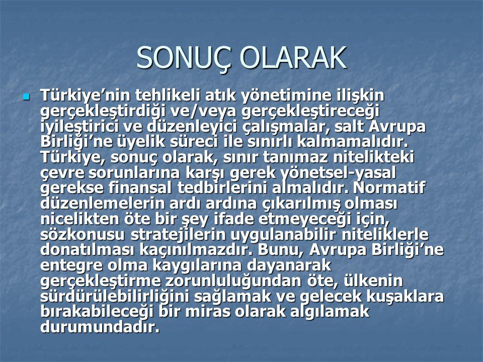 SONUÇ OLARAK Türkiye'nin tehlikeli atık yönetimine ilişkin gerçekleştirdiği ve/veya gerçekleştireceği iyileştirici ve düzenleyici çalışmalar, salt Avr