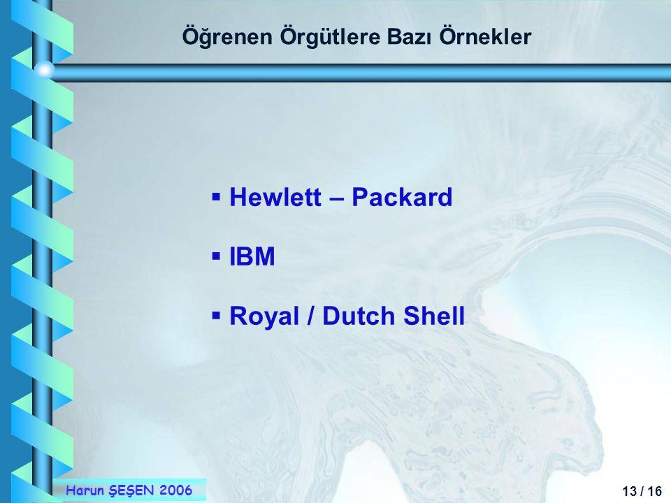 13 / 16 Harun ŞEŞEN 2006 Öğrenen Örgütlere Bazı Örnekler  Hewlett – Packard  IBM  Royal / Dutch Shell