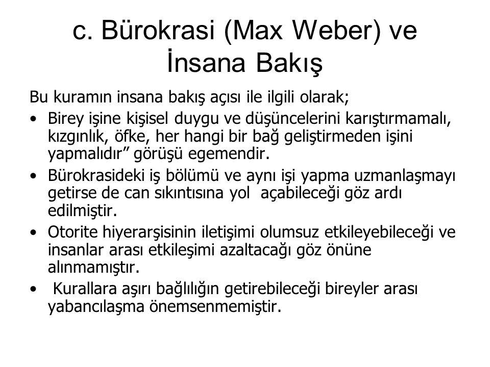 c. Bürokrasi (Max Weber) ve İnsana Bakış Bu kuramın insana bakış açısı ile ilgili olarak; Birey işine kişisel duygu ve düşüncelerini karıştırmamalı, k