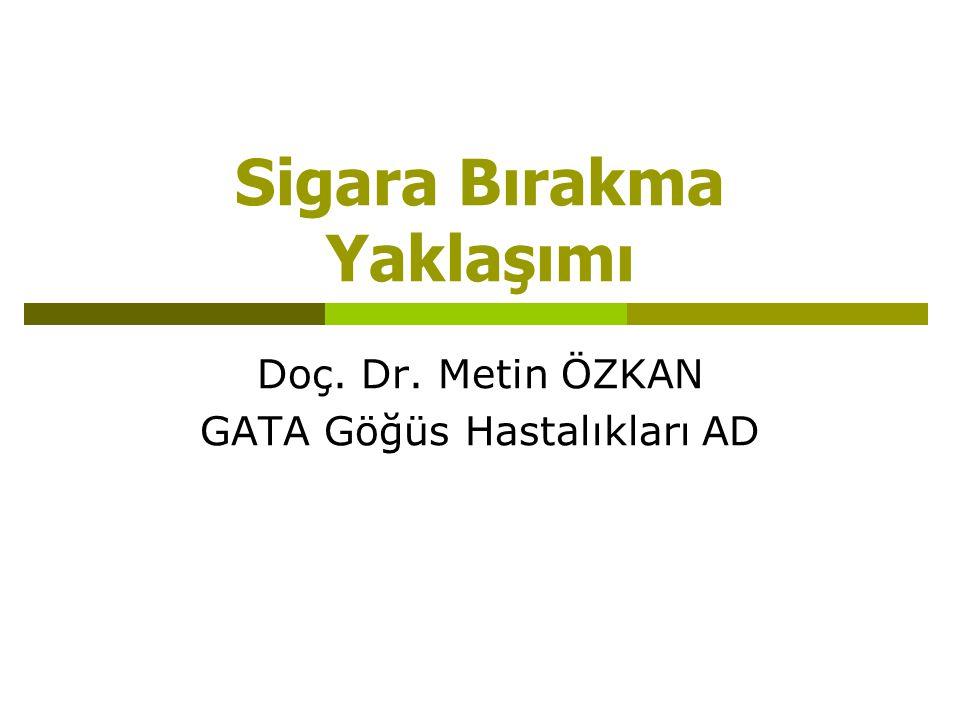 Sigara Bırakma Yaklaşımı Doç. Dr. Metin ÖZKAN GATA Göğüs Hastalıkları AD