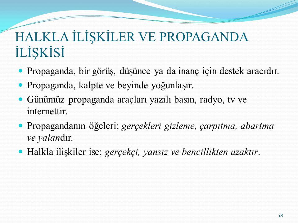 HALKLA İLİŞKİLER VE PROPAGANDA İLİŞKİSİ Propaganda, bir görüş, düşünce ya da inanç için destek aracıdır. Propaganda, kalpte ve beyinde yoğunlaşır. Gün