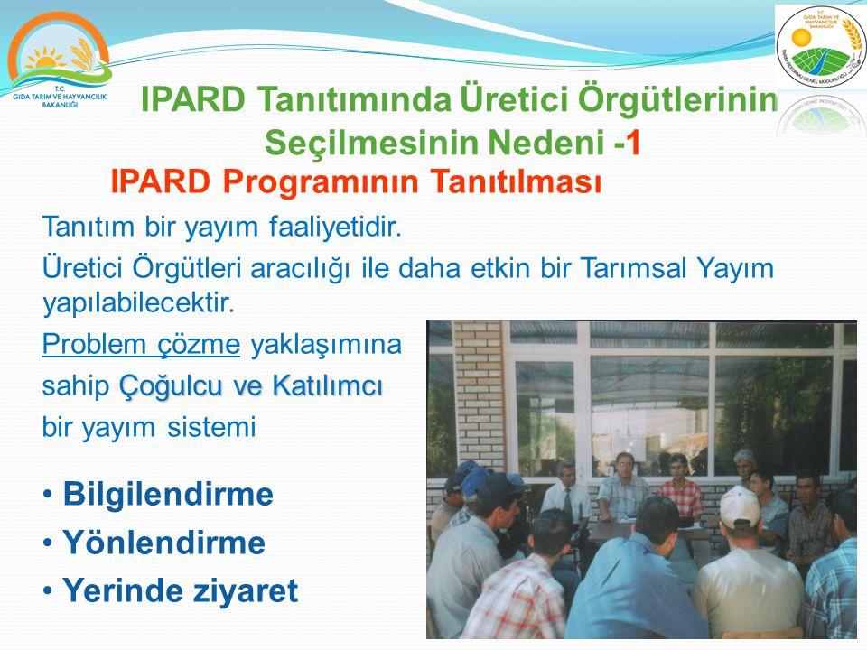IPARD Tanıtımında Üretici Örgütlerinin Seçilmesinin Nedeni -1 IPARD Programının Tanıtılması Tanıtım bir yayım faaliyetidir.