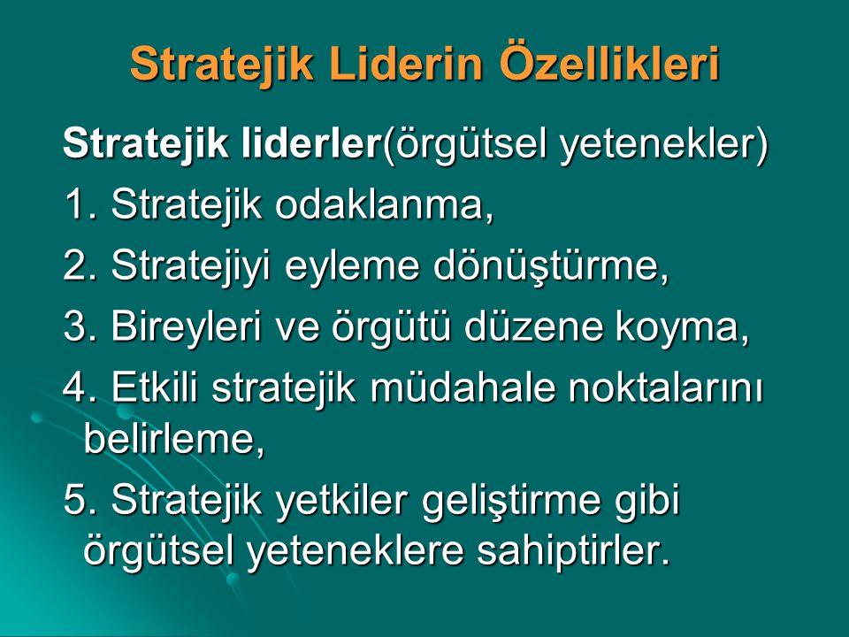 Stratejik Liderin Özellikleri Stratejik liderler(örgütsel yetenekler) Stratejik liderler(örgütsel yetenekler) 1. Stratejik odaklanma, 1. Stratejik oda