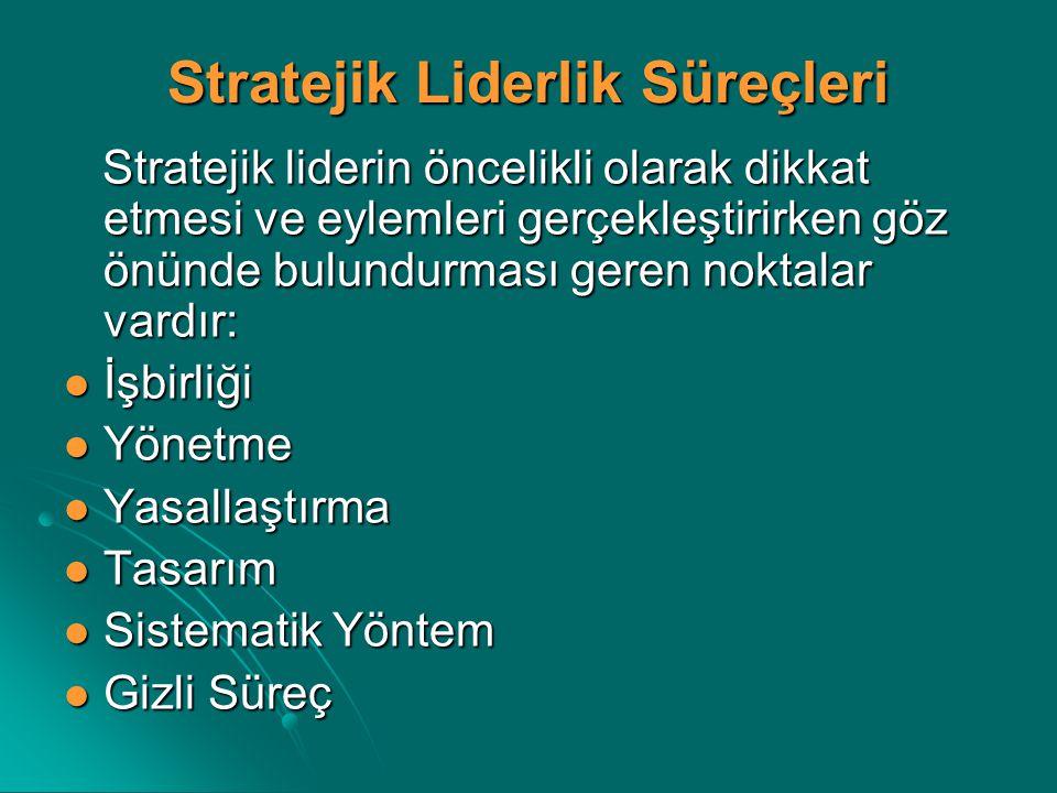 Stratejik Liderlik Süreçleri Stratejik liderin öncelikli olarak dikkat etmesi ve eylemleri gerçekleştirirken göz önünde bulundurması geren noktalar va