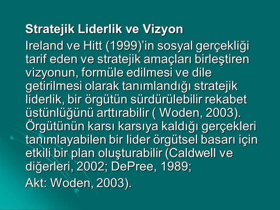 Stratejik Liderlik ve Vizyon Stratejik Liderlik ve Vizyon Ireland ve Hitt (1999)'in sosyal gerçekliği tarif eden ve stratejik amaçları birleştiren viz