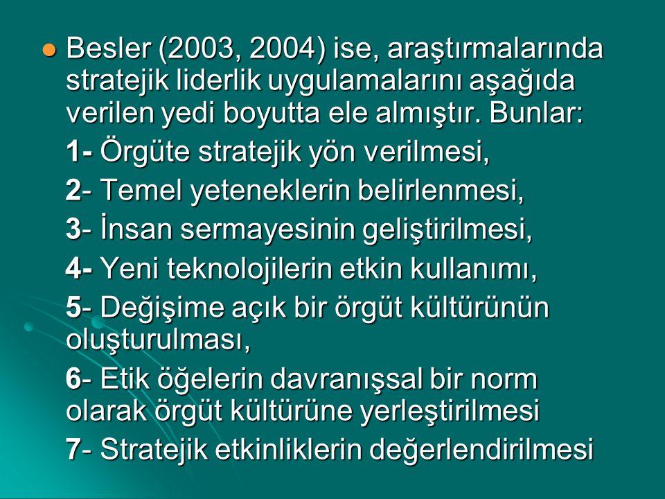 Besler (2003, 2004) ise, araştırmalarında stratejik liderlik uygulamalarını aşağıda verilen yedi boyutta ele almıştır. Bunlar: Besler (2003, 2004) ise