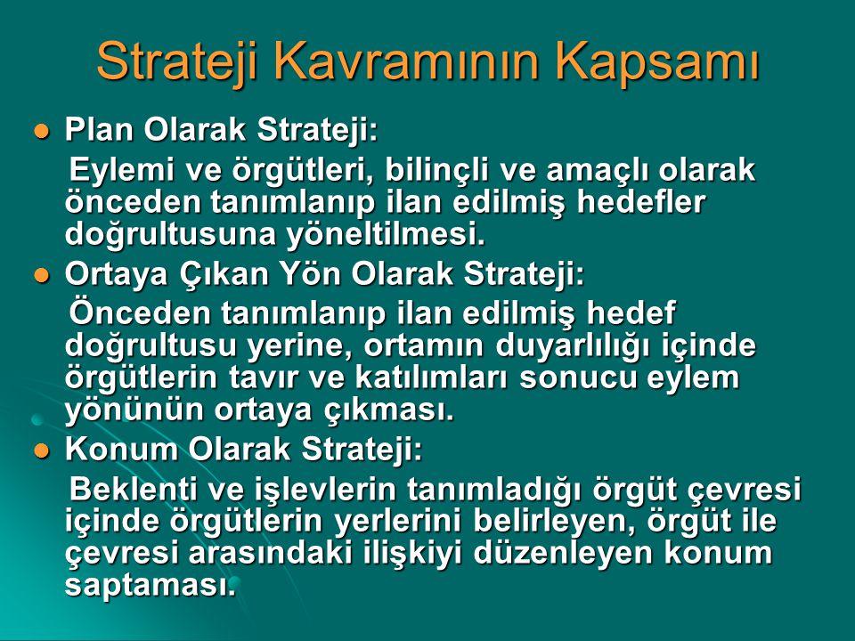 Strateji Kavramının Kapsamı Plan Olarak Strateji: Plan Olarak Strateji: Eylemi ve örgütleri, bilinçli ve amaçlı olarak önceden tanımlanıp ilan edilmiş