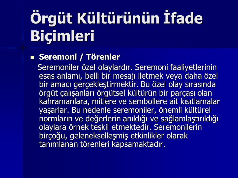 Örgüt Kültürünün İfade Biçimleri Seremoni / Törenler Seremoni / Törenler Seremoniler özel olaylardır.
