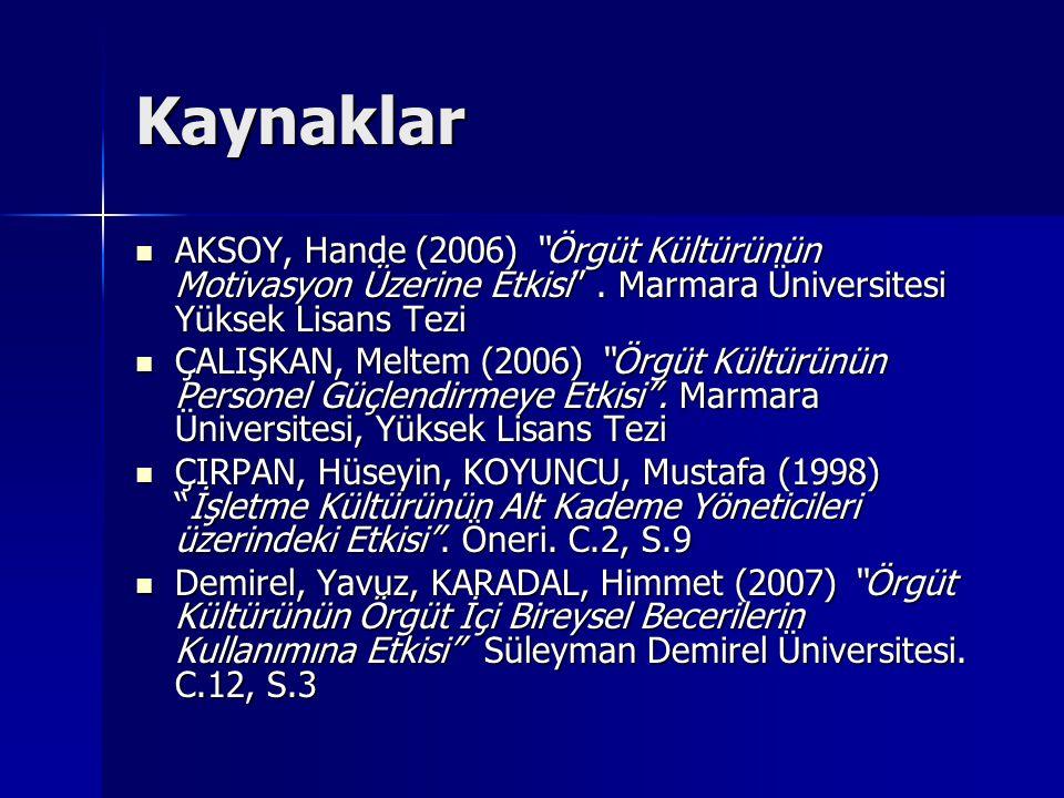 Kaynaklar AKSOY, Hande (2006) Örgüt Kültürünün Motivasyon Üzerine Etkisi .
