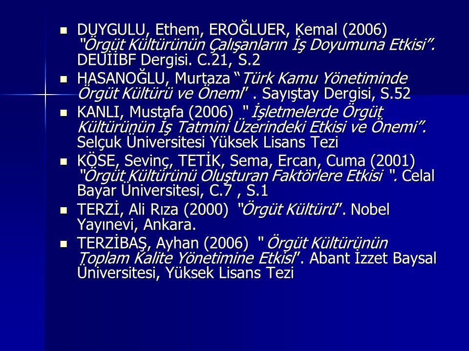 DUYGULU, Ethem, EROĞLUER, Kemal (2006) Örgüt Kültürünün Çalışanların İş Doyumuna Etkisi .