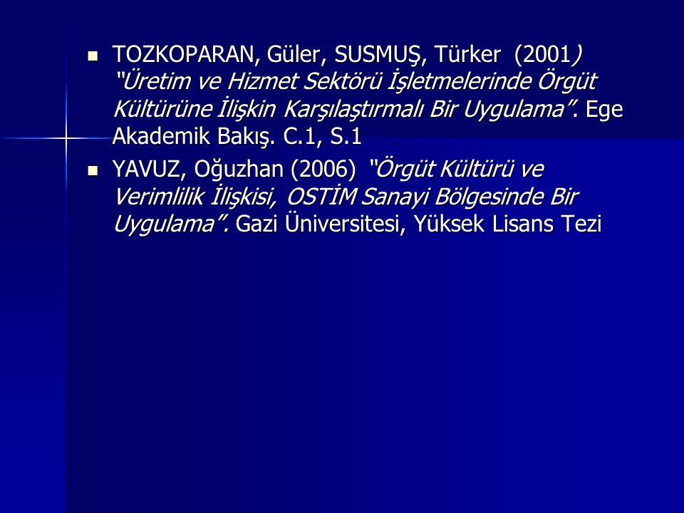 TOZKOPARAN, Güler, SUSMUŞ, Türker (2001) Üretim ve Hizmet Sektörü İşletmelerinde Örgüt Kültürüne İlişkin Karşılaştırmalı Bir Uygulama .