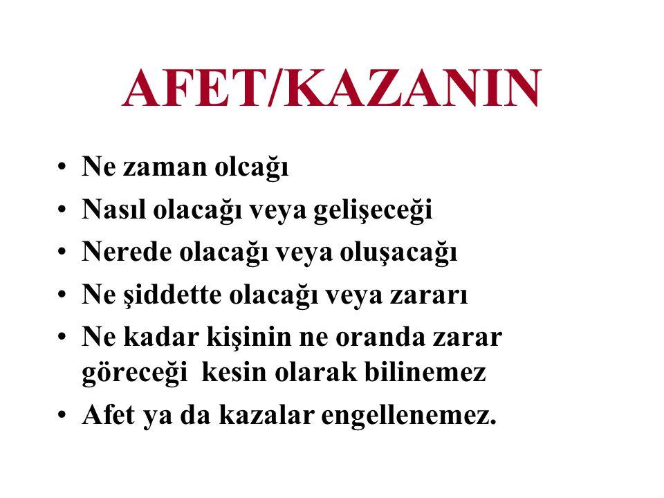 AFET/KAZANIN Ne zaman olcağı Nasıl olacağı veya gelişeceği Nerede olacağı veya oluşacağı Ne şiddette olacağı veya zararı Ne kadar kişinin ne oranda za