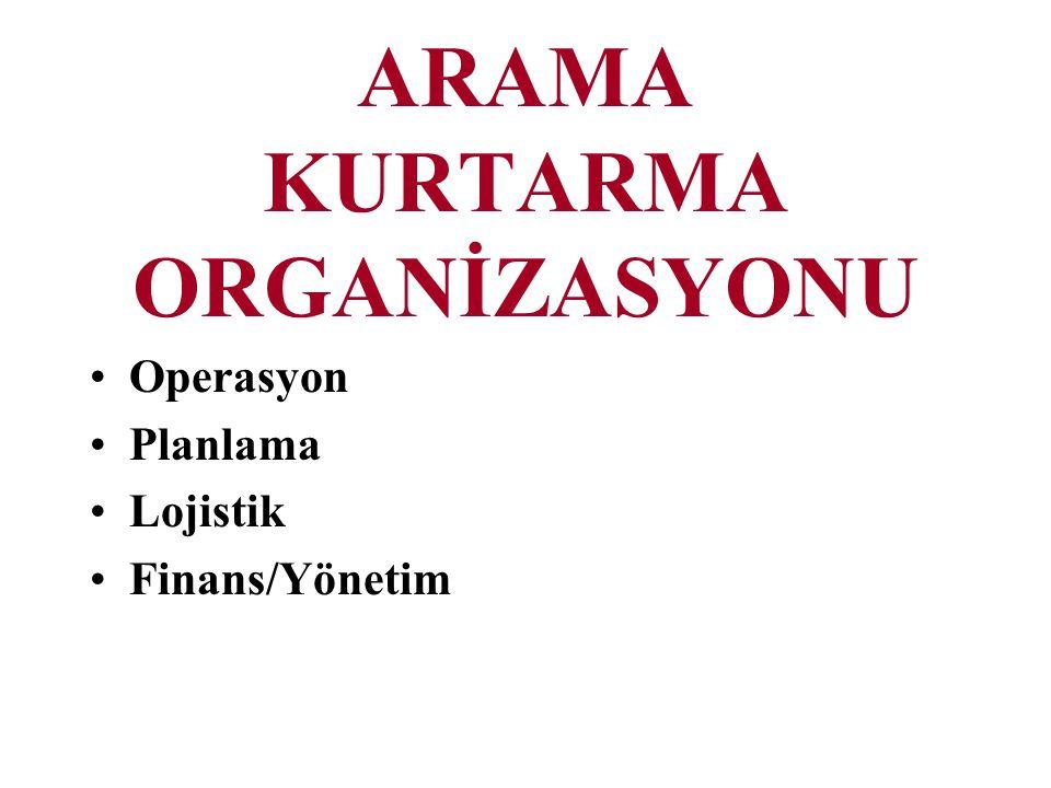 ARAMA KURTARMA ORGANİZASYONU Operasyon Planlama Lojistik Finans/Yönetim