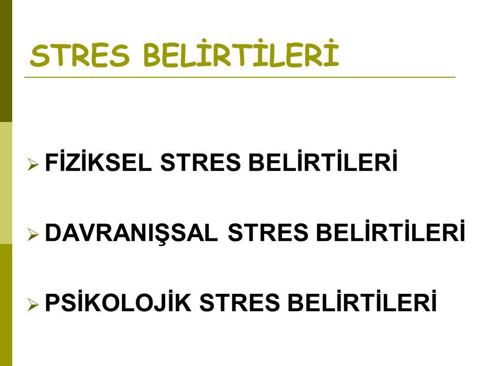 STRES BELİRTİLERİ  FİZİKSEL STRES BELİRTİLERİ  DAVRANIŞSAL STRES BELİRTİLERİ  PSİKOLOJİK STRES BELİRTİLERİ