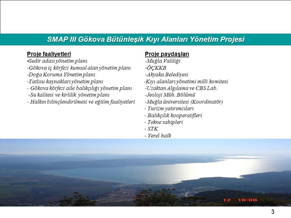 HAFIZAMIZI TAZELEYELİM SMAP III Gökova Bütünleşik Kıyı Alanları Yönetim Projesi 3 Proje faaliyetleri Proje paydaşları - Sedir adası yönetim planı -Muğ
