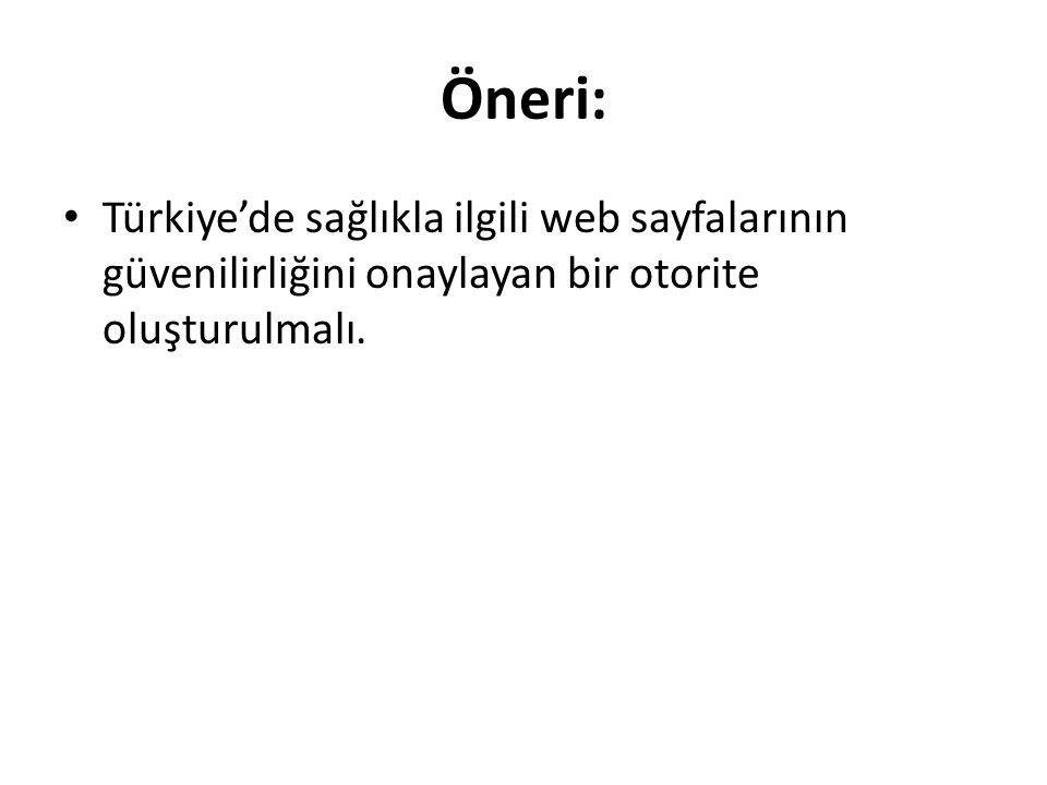 Öneri: Türkiye'de sağlıkla ilgili web sayfalarının güvenilirliğini onaylayan bir otorite oluşturulmalı.