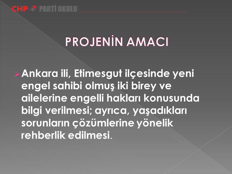  Ankara ili, Etimesgut ilçesinde yeni engel sahibi olmuş iki birey ve ailelerine engelli hakları konusunda bilgi verilmesi; ayrıca, yaşadıkları sorun
