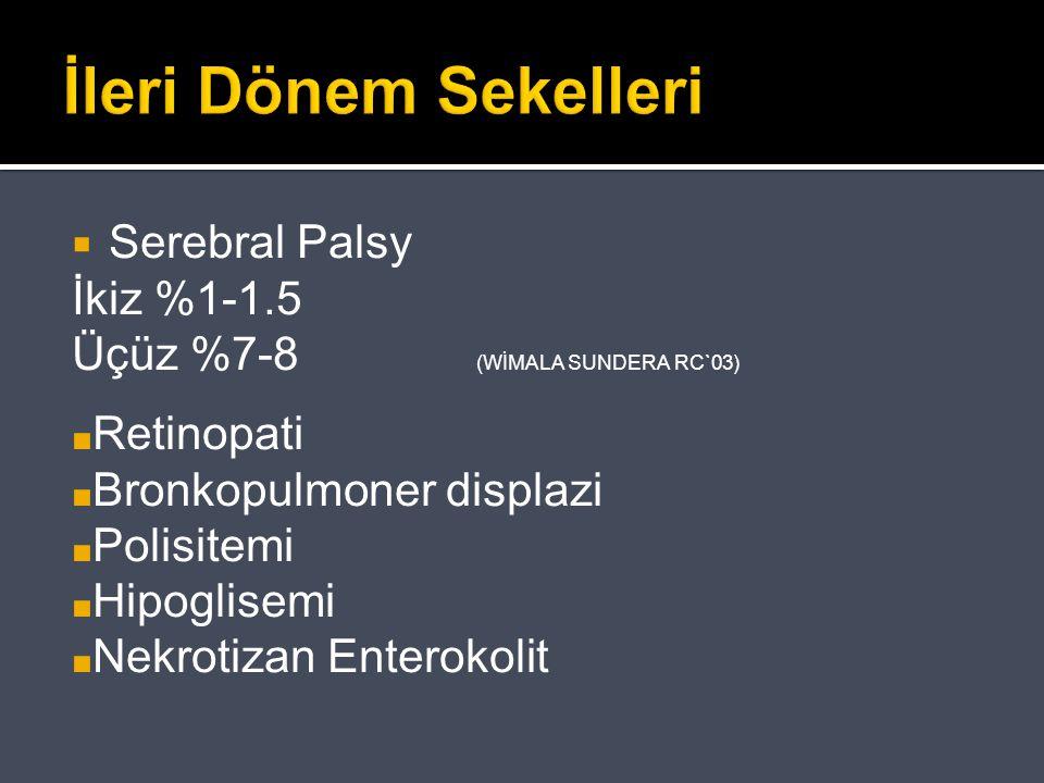 İleri Dönem Sekelleri  Serebral Palsy İkiz %1-1.5 Üçüz %7-8 (WİMALA SUNDERA RC`03) ■ Retinopati ■ Bronkopulmoner displazi ■ Polisitemi ■ Hipoglisemi