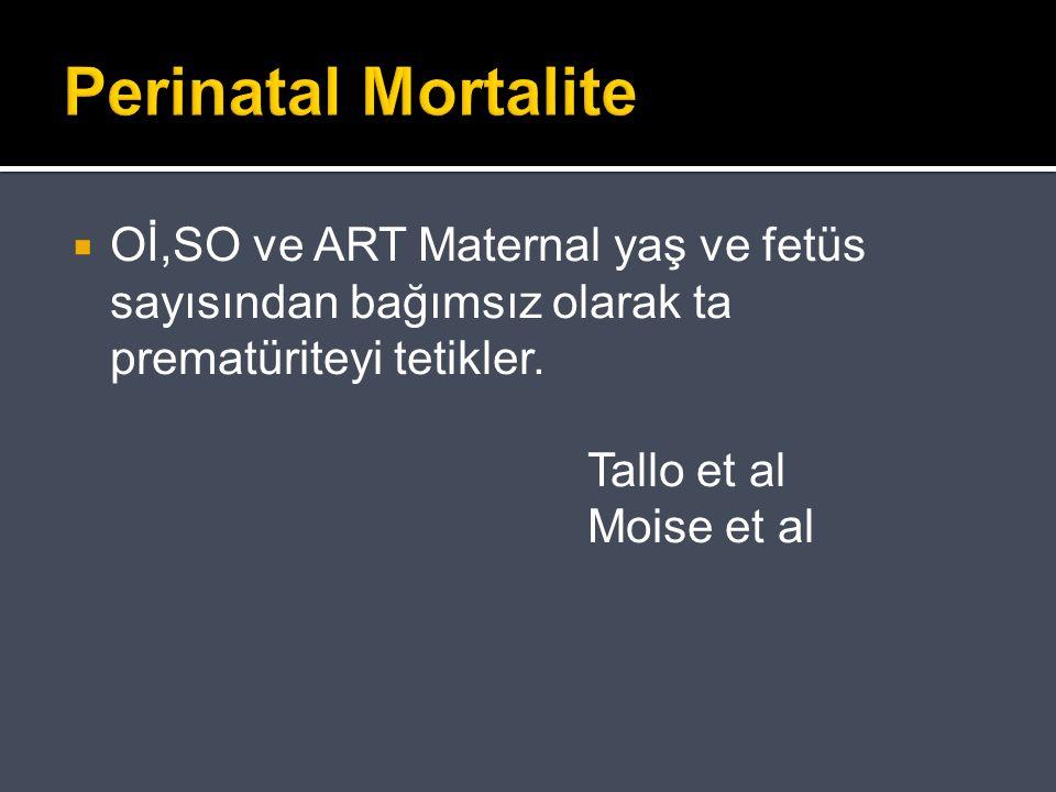 Perinatal Mortalite  Oİ,SO ve ART Maternal yaş ve fetüs sayısından bağımsız olarak ta prematüriteyi tetikler. Tallo et al Moise et al