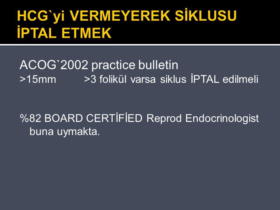 HCG`yi VERMEYEREK SİKLUSU İPTAL ETMEK ACOG`2002 practice bulletin >15mm >3 folikül varsa siklus İPTAL edilmeli %82 BOARD CERTİFİED Reprod Endocrinolog