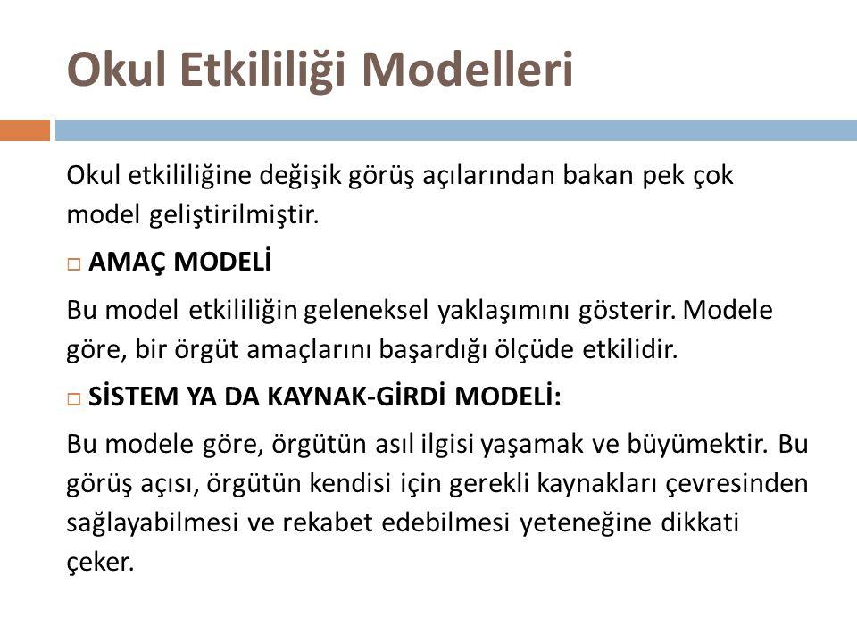 Okul Etkililiği Modelleri Okul etkililiğine değişik görüş açılarından bakan pek çok model geliştirilmiştir.  AMAÇ MODELİ Bu model etkililiğin gelenek