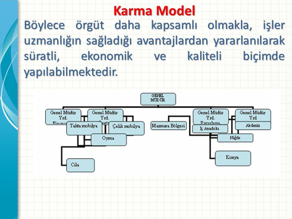 Karma Model Böylece örgüt daha kapsamlı olmakla, işler uzmanlığın sağladığı avantajlardan yararlanılarak süratli, ekonomik ve kaliteli biçimde yapılab