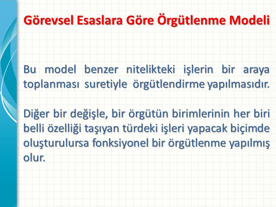Görevsel Esaslara Göre Örgütlenme Modeli Fonksiyonel modele örnek olarak kamu hizmetlerinin bakanlıklar arasındaki dağılımı, bakanlıkların iç kuruluşu gösterilebilir.