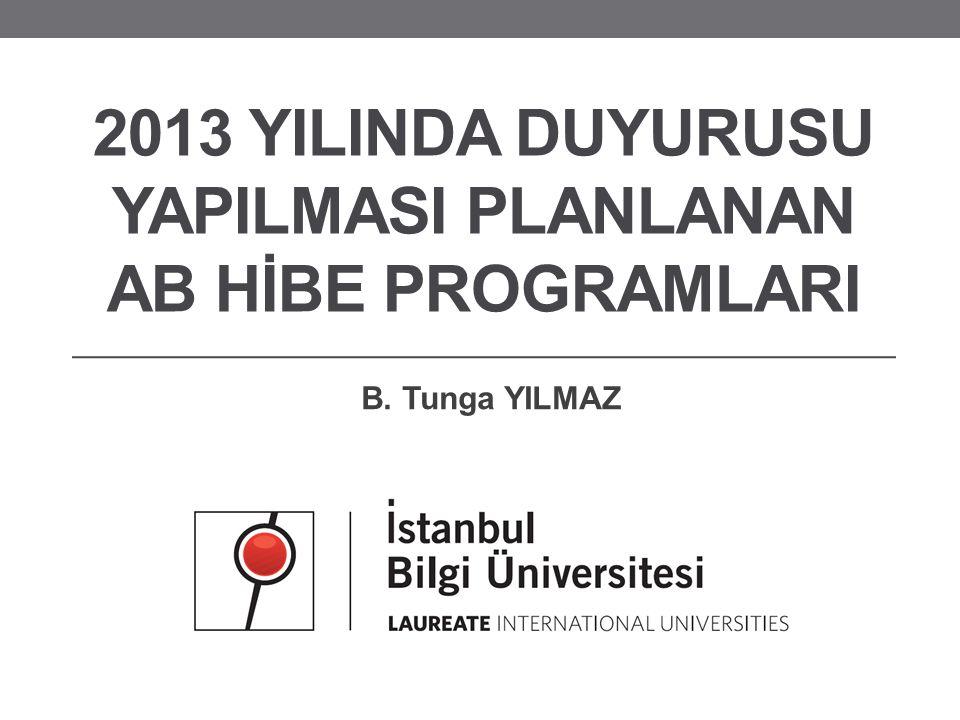 2013 YILINDA DUYURUSU YAPILMASI PLANLANAN AB HİBE PROGRAMLARI B. Tunga YILMAZ