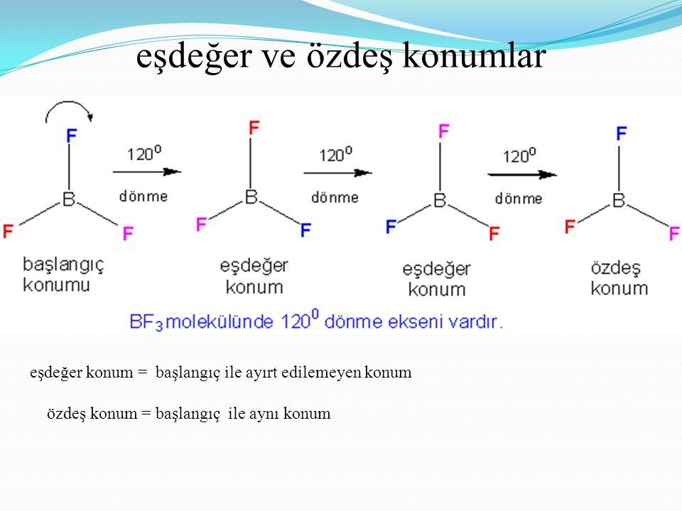 eşdeğer olmayan konum İşlem sonucunda molekülün görüntüsü değişmiştir.