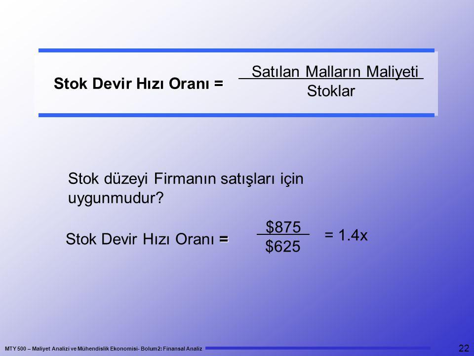MTY 500 – Maliyet Analizi ve Mühendislik Ekonomisi- Bolum2: Finansal Analiz 22 Stok Devir Hızı Oranı = Stok Devir Hızı Oranı = Satılan Malların Maliye