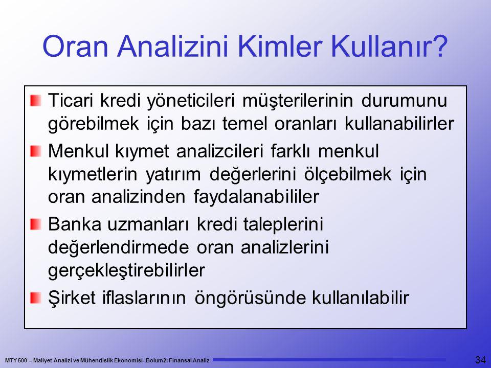 MTY 500 – Maliyet Analizi ve Mühendislik Ekonomisi- Bolum2: Finansal Analiz 34 Oran Analizini Kimler Kullanır.