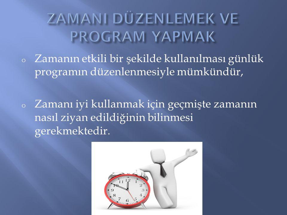 o Zamanın etkili bir şekilde kullanılması günlük programın düzenlenmesiyle mümkündür, o Zamanı iyi kullanmak için geçmişte zamanın nasıl ziyan edildiğ