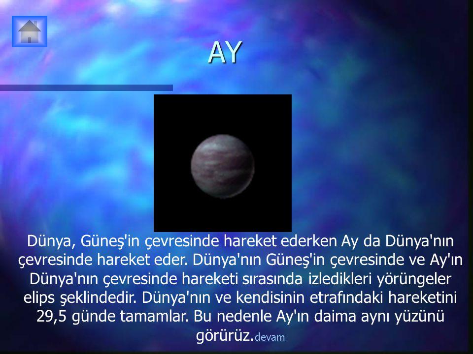 AY Dünya, Güneş in çevresinde hareket ederken Ay da Dünya nın çevresinde hareket eder.