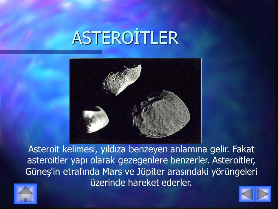 ASTEROİTLER Asteroit kelimesi, yıldıza benzeyen anlamına gelir.