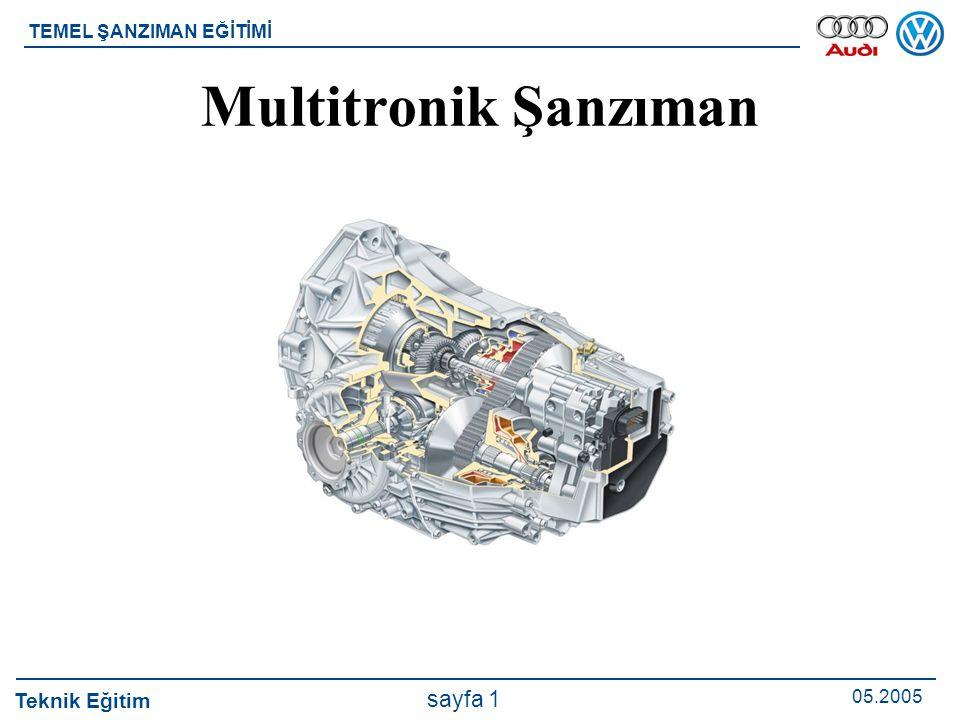 Teknik Eğitim 05.2005 sayfa 1 TEMEL ŞANZIMAN EĞİTİMİ Multitronik Şanzıman