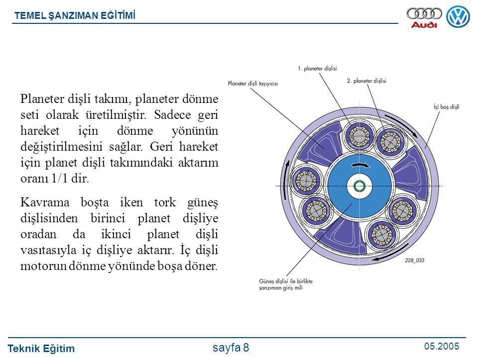 Teknik Eğitim 05.2005 sayfa 8 TEMEL ŞANZIMAN EĞİTİMİ Planeter dişli takımı, planeter dönme seti olarak üretilmiştir. Sadece geri hareket için dönme yö