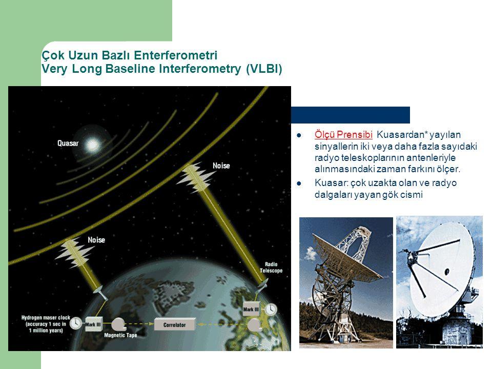 Çok Uzun Bazlı Enterferometri Very Long Baseline Interferometry (VLBI) Ölçü Prensibi Kuasardan* yayılan sinyallerin iki veya daha fazla sayıdaki radyo