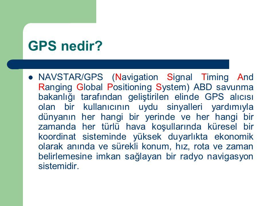 NAVSTAR/GPS (Navigation Signal Timing And Ranging Global Positioning System) ABD savunma bakanlığı tarafından geliştirilen elinde GPS alıcısı olan bir