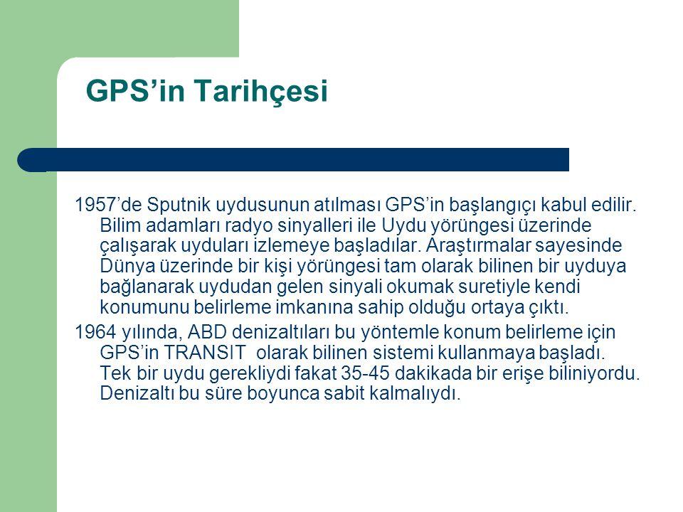 GPS'in Tarihçesi 1957'de Sputnik uydusunun atılması GPS'in başlangıçı kabul edilir. Bilim adamları radyo sinyalleri ile Uydu yörüngesi üzerinde çalışa