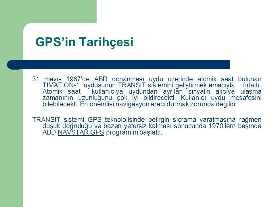 GPS'in Tarihçesi 31 mayıs 1967'de ABD donanması uydu üzerinde atomik saat bulunan TIMATION-1 uydusunun TRANSIT sistemini geliştirmek amacıyla fırlattı