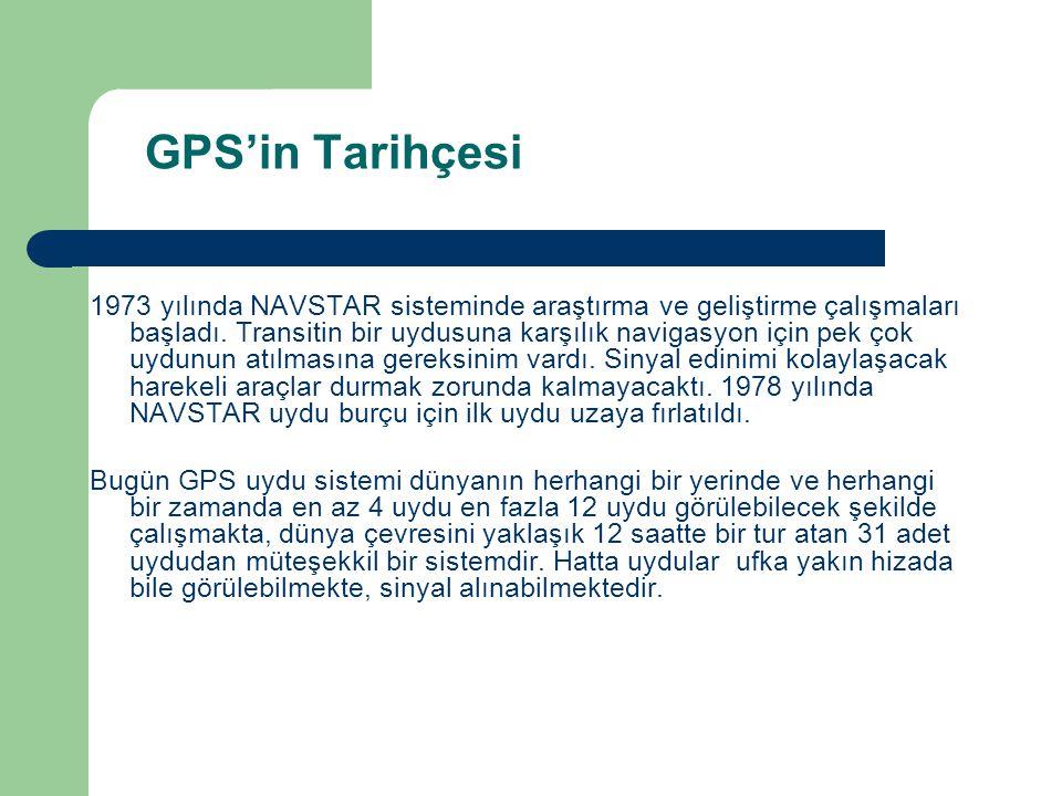 GPS'in Tarihçesi 1973 yılında NAVSTAR sisteminde araştırma ve geliştirme çalışmaları başladı. Transitin bir uydusuna karşılık navigasyon için pek çok