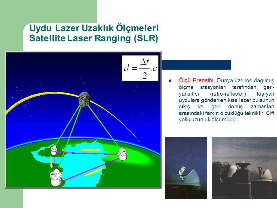 Uydu Lazer Uzaklık Ölçmeleri Satellite Laser Ranging (SLR) Ölçü Prensibi: Dünya üzerine dağılmış ölçme istasyonları tarafından, geri- yansıtıcı (retro