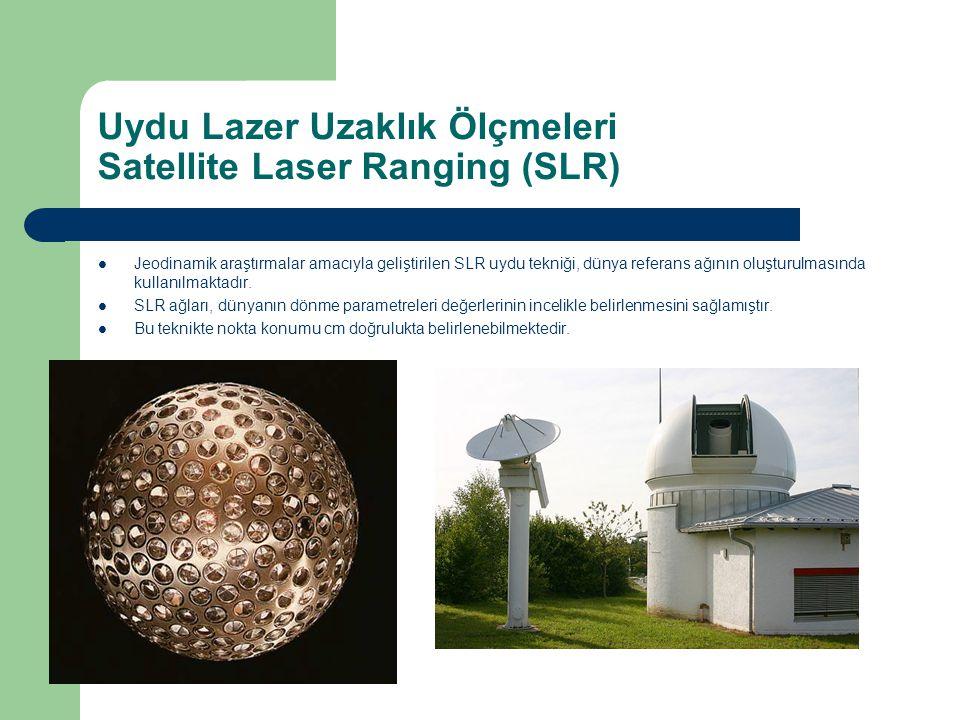 Uydu Lazer Uzaklık Ölçmeleri Satellite Laser Ranging (SLR) Jeodinamik araştırmalar amacıyla geliştirilen SLR uydu tekniği, dünya referans ağının oluşt