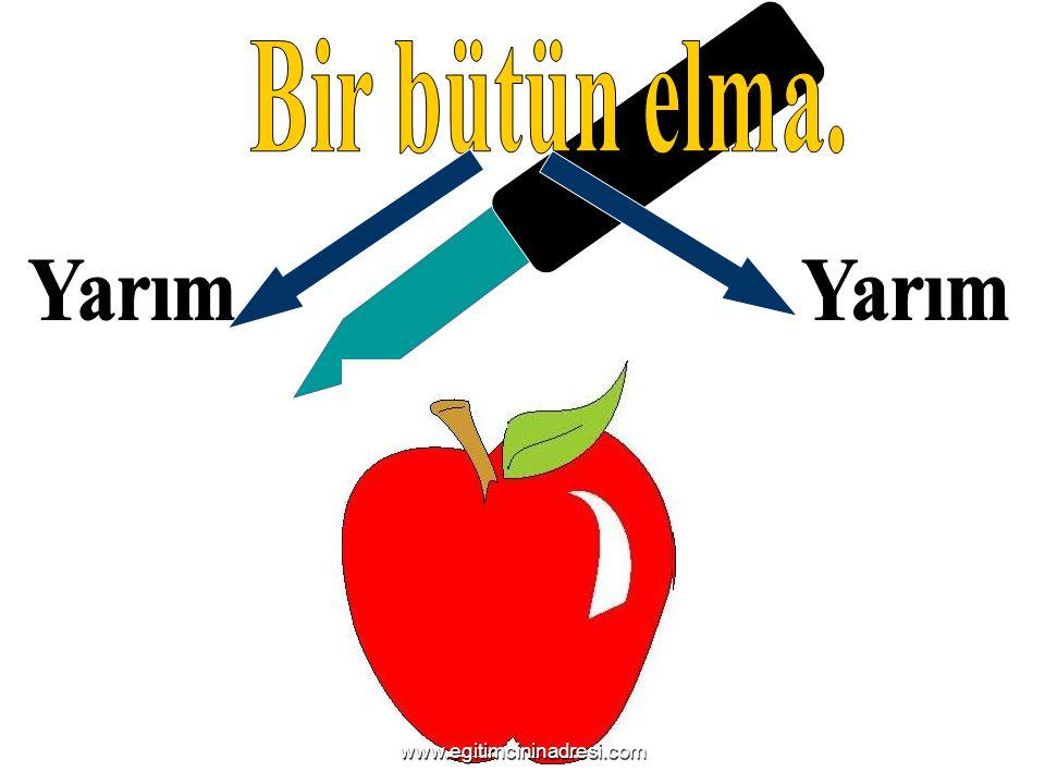 Biz dört kişiyiz. Biz nasıl paylaşacağız bir bütün elmayı ? Dörde bölelim www.egitimcininadresi.com