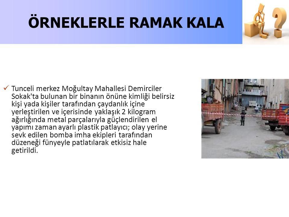 Tunceli merkez Moğultay Mahallesi Demirciler Sokak'ta bulunan bir binanın önüne kimliği belirsiz kişi yada kişiler tarafından çaydanlık içine yerleşti