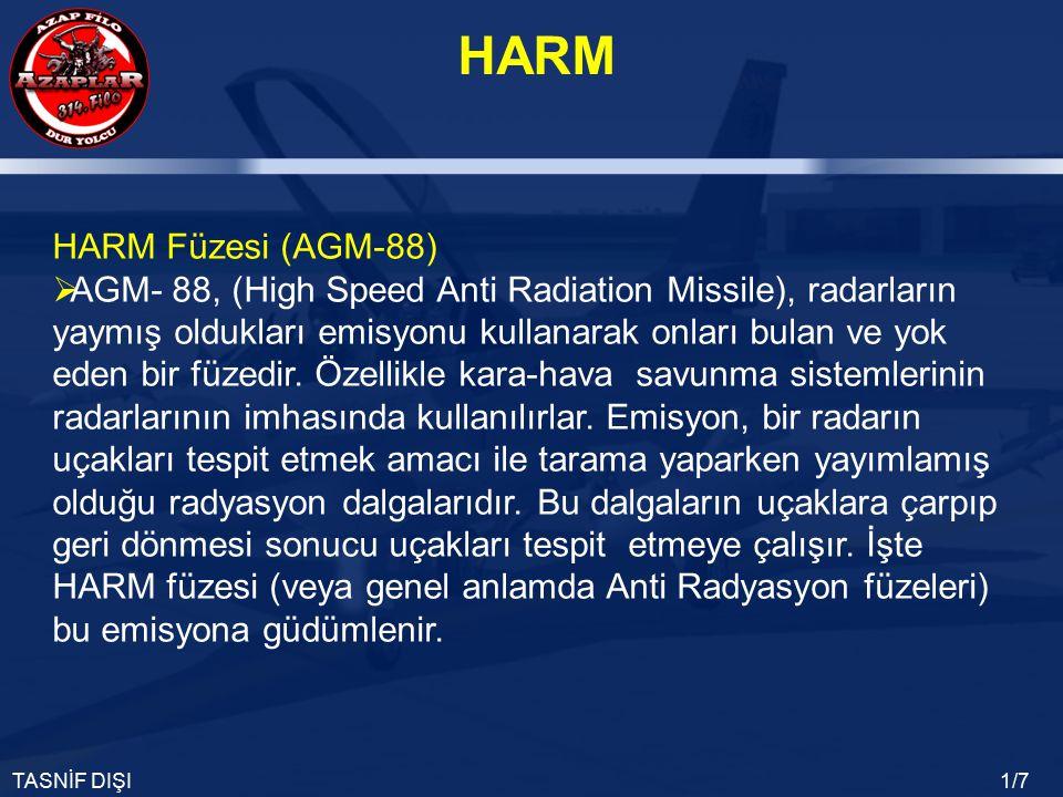 HARM TASNİF DIŞI1/7 HARM Füzesi (AGM-88)  AGM- 88, (High Speed Anti Radiation Missile), radarların yaymış oldukları emisyonu kullanarak onları bulan ve yok eden bir füzedir.